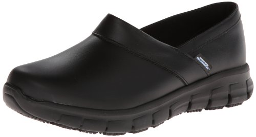 Skechers for Work Women's Relaxed Fit Slip Resistant Work Shoe, Black, 6.5 M US