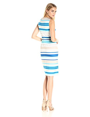 Concealed lace zipper at center back This fun multicolor stipe dress falls at knee length