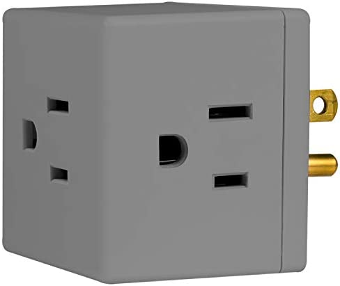 31T5uoz93iL. AC  - GE 3-Outlet Wall Tap, 5 Pack, Extra-Wide Adapter Spaced, Grounded, Easy Access Design, Indoor, Gray, 47038 #Amazon