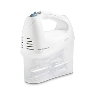 Hamilton Beach 6-Speed Electric Hand Mixer with Snap-On Storage Case, Wire Beaters, Whisk and Bowl Rest, 250W, White (62682RZ) 31TIHfvUx9L