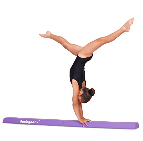 Springee 6' Balance Beam - Extra Firm Gymnastics Beam - Practice Gymnastics Equipment for Home - The Safe Balance Beam for Kids (Purple)