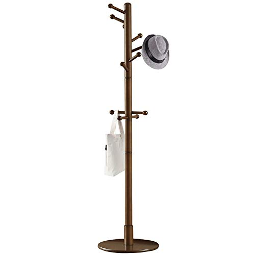 Vlush Sturdy Wooden Coat Rack Stand, Entryway Hall Tree Coat Tree with Solid Round Base