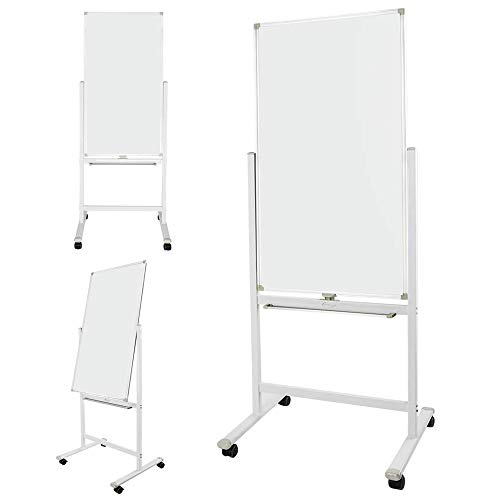 ShowMaven 48 x 24 Inch Mobile Whiteboard 360°Double-Sided Magnetic Dry Erase Board,74'H with Stand on Rolling Wheels with Brake,Portable Chalkboard for Multi-Functional Office Home Meeting Teaching
