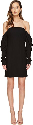 61wfFeR629L Be bold in your statement wearing the Vera Wang™ Off the Shoulder Shift Dress with Draped Sleeve.   Shift silhouette.