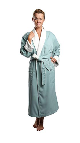 Terry Lined Microfiber Hotel Robe - Luxury Spa Bathrobe in Sage/XL by Monarch/Cypress