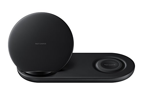 Samsung Wireless Charger Duo Fast Charge Stand & Pad Universally Compatible with Qi Enabled Phones and Select Samsung Watches (US Version), Black