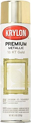 Krylon K01000A07 Premium Metallic Spray Paint Resembles Actual Plating, 18K Gold, 8 oz