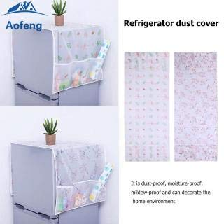 31UQYcHiMaL SVK Dream Home Transparent Printing Waterproof Cloth dust Cover Household Refrigerator Cover Towel Hanging Storage Bag Flamingo 130 X 55cm in White Color (Color May Vary)