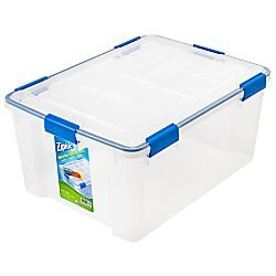 Ziploc Weathertight Storage Box, 60-Quart, 11 1/5'H x 17 4/5'W x 23 3/5'D, Clear