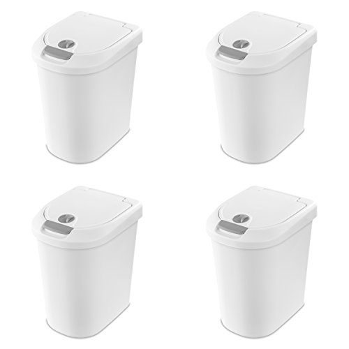 Sterilite 10998004 7.3 Gallon/28 Liter Locking TouchTop Wastebasket, White Lid & Base w/ Titanium Latch & Lock, 4-Pack