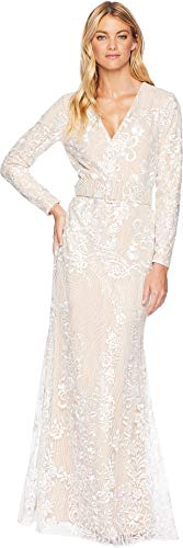 Badgley Mischka Size Guide   Stand out at your next event in this Badgley Mischka® Ivory Embellished Long Sleeve Dress.