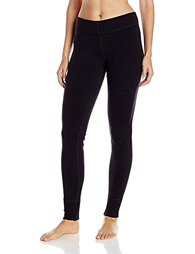 Woolx Womens Avery Midweight Merino Wool Base Layer Leggings For Warmth, Black, Large
