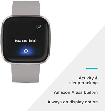 Fitbit Versa 2 Health and Fitness Smartwatch with Heart Rate, Music, Alexa Built-In, Sleep and Swim Tracking, Stone/Mist Grey, One Size (S and L Bands Included) 4