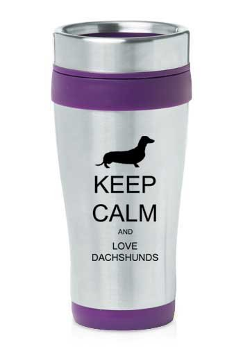 Purple 16oz Insulated Stainless Steel Travel Mug Z391 Keep Calm and Love Dachshunds