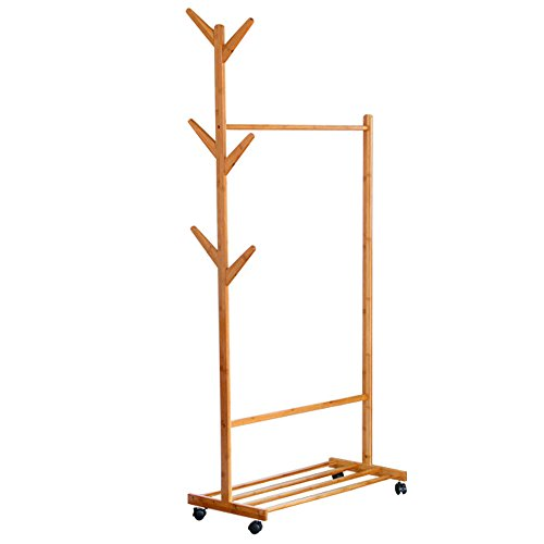 G-LEAF Bamboo Garment Rack with 6 Side Hook Tree Stand Coat Hanger and Four Stable Leveling Feet for Jacket, Umbrella, Clothes, Hats