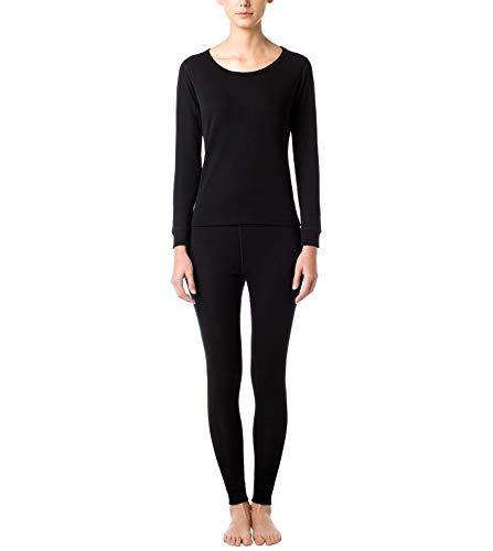 LAPASA Women's 100% Merino Wool Thermal Underwear Long John Set Lightweight Base Layer Top and Bottom L58 (L, Black)