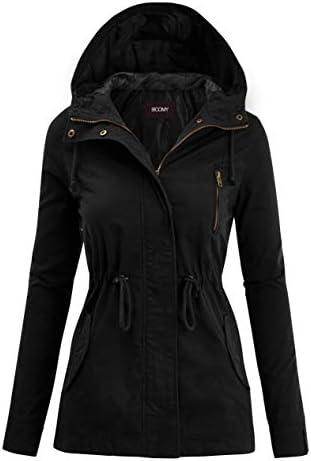 FASHION BOOMY Women's Zip Up Safari Military Anorak Jacket with Hood Drawstring – Regular and Plus Sizes