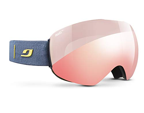 Julbo Skydome Photochromic Snow Goggles Lightweight with Ultra Wide Panoramic Lens - Zebra Light Red - Dark Blue/Yellow