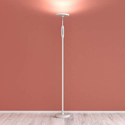 Daylight LED Floor Standing Lamp - Tall Modern Reading Task Uplight - 24W Adjustable Warm Cool Super Bright Natural Light Torchiere for Living Room, Dorm, Bedroom or Office - Dimmable - White