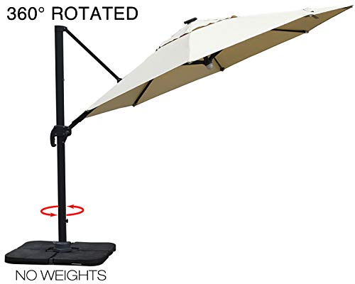 Mefo garden 10 by 10-Feet Classic Offset Patio Umbrella, 360° Rotated Cantilever Umbrella with Tilt System for Outdoor Parties, Courtyard, Aluminum, 250gsm Square Canopy, Beige