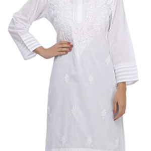 ADA Needlecraft Ethnic Chikan White Cotton Kurti for Women Casual Wear