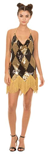 Underboss-Suicide-Squad-Harley-Quinn-Sequin-Chemise-Costume-Dress-with-Fringe-Adult-X-Small