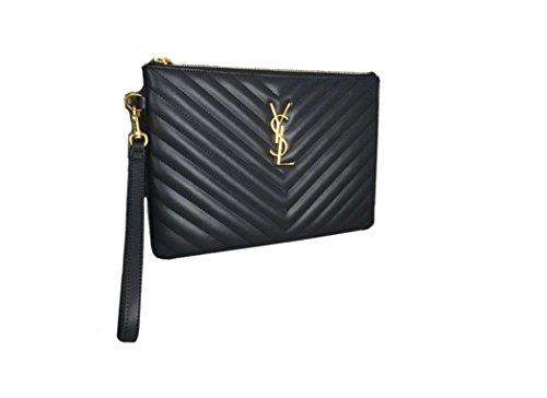 Saint Laurent classic V-shaped pattern wallet clutch bag