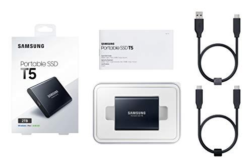 Samsung T5 2 TB USB 3.1 Gen 2 (10 Gbps, Type-C) External Solid State Drive (Portable SSD) Deep Black (MU-PA2T0B)