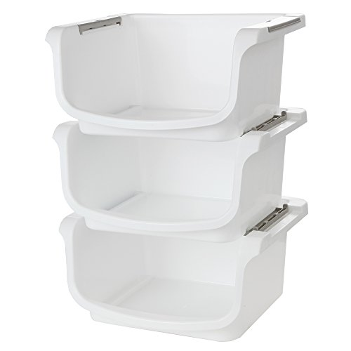 Home-X - Small Nesting and Stackable Storage Bins, Set of 3 (Storage Area 10'L x 8'W x 5.75'H)