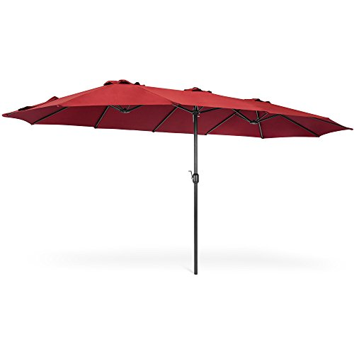 Best Choice Products 15x9ft Large Rectangular Outdoor Aluminum Twin Patio Market Umbrella w/Crank, Wind Vents