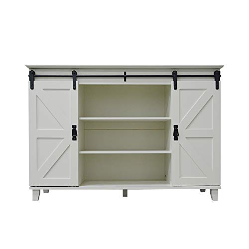 Nbliner Sliding Barn Door Console Tv Stand Country Style Wooden