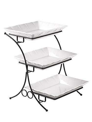 Porcelain Baking Set with Stand Tiered Serving Stand 3 Tier Buffet Server with Casserole Perfect Tray for Serving Display Large Size