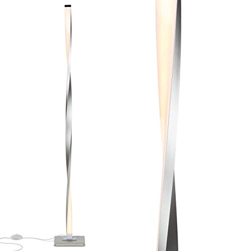 Brightech Helix LED Floor Lamp for Living Rooms - Get Compliments: Modern Standing Pole Light for Bedrooms & Offices - Bright & Dimmable - Contemporary 48 Inch Tall Lamp - Platinum Silver