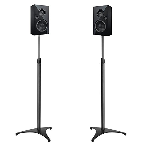 PERLESMITH Adjustable Height Speaker Stands-Extends 30' to 45'- Hold Satellite & Small Bookshelf Speakers Weight up to 8lbs-Heavy Duty Floor Stands for Surround Sound-1 Pair (Model: PSSS1)