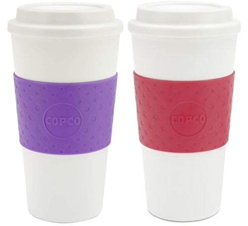 Copco Acadia Double Wall Insulated 16 oz Travel To Go Mug with Non-Slip Sleeve, Set of 2, Commuter Friendly, Drink On the Go (Lilac/Apple Red)