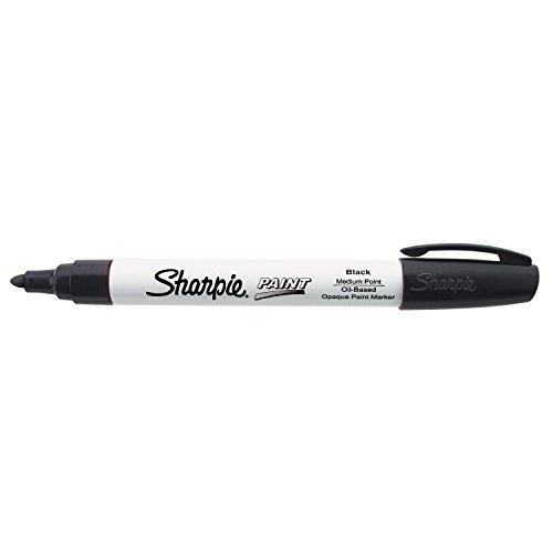 Sharpie Oil-Based Paint Marker, Medium Point, Black Ink, Pack of 3