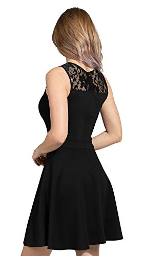 Sylvestidoso Women's A-Line Pleated Sleeveless Little Cocktail Party Dress with Floral Lace 16 Fashion Online Shop gifts for her gifts for him womens full figure