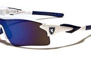 KHAN New Mens Sleek Sports Riding Cycling Sunglasses-Pick Your Color (WHITE-BLUE)