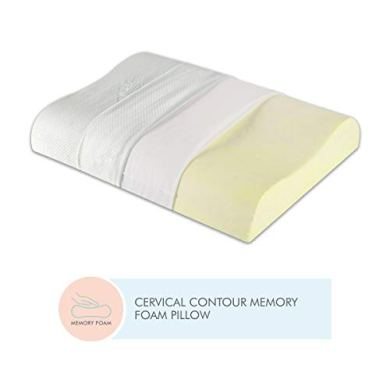 The White Willow Contour Cervical Orthopedic Memory Foam Pillow- White 13