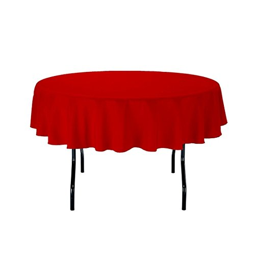 Gee Di Moda Tablecloth - 70' Inch Round Tablecloths for Circular Table Cover in Red Washable Polyester - Great for Buffet Table, Parties, Holiday Dinner & More