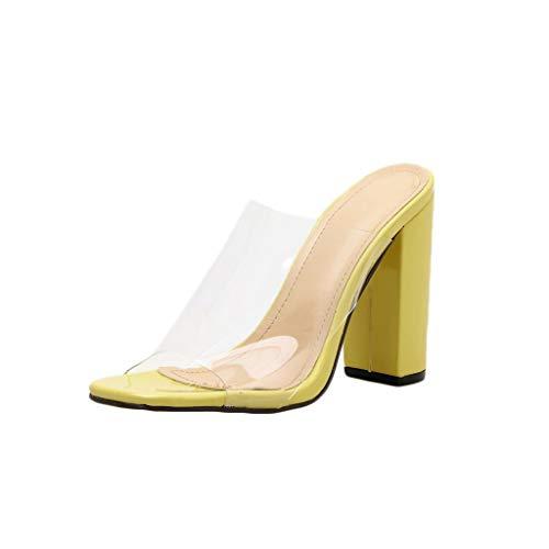brand new 19687 ba110 FRAUIT Scarpe Donna Sexy Tacco Alto Trasparente Infradito Ragazza Eleganti  Con Tacco Quadrato Sandali Con Tacco Largo Ciabatte Donne Piscina Alte ...