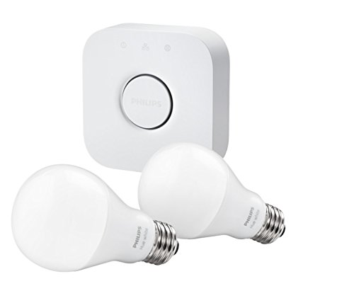 Philips Hue White A19 Starter Kit with two A19 LED light bulbs and bridge (hub), Works with Alexa  Image of 31YRrmEoG2L