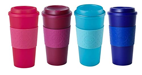 Copco Acadia Reusable To Go Mug, 16-ounce Capacity - 4-pack (Pink, Marsala Red, Teal, Navy)