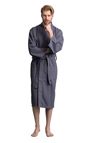 Men's Robe, Long Waffle Spa Bathrobe, Square Pattern (Gray, XX-Large)