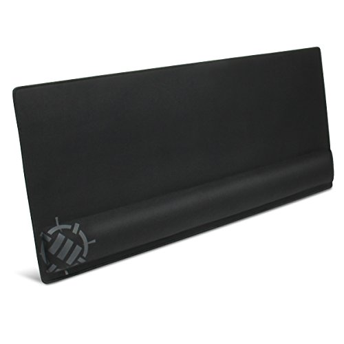 ENHANCE XXL Large Extended Gaming Mouse Pad with Memory Foam Wrist Rest Support (31.5 x 13.78 x 1 inches) - Anti-Fray Stitching & Premium Soft Tracking Mat Surface (Black)