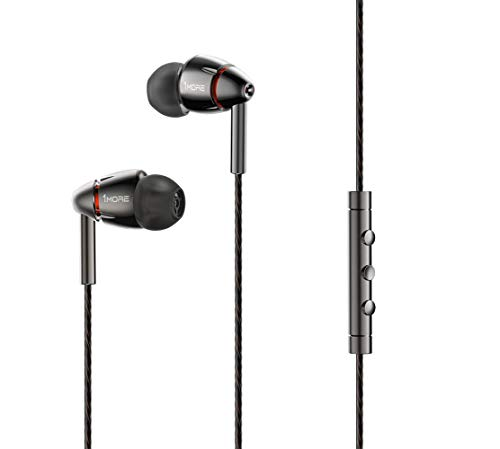 1MORE Quad Driver in-Ear Earphones Hi-Res High Fidelity Headphones Warm Bass, Spacious Reproduction, High Resolution, Mic in-Line Remote Smartphones/PC/Tablet – Silver/Gray