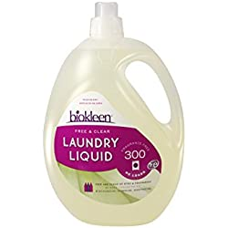 Biokleen Laundry Detergent Liquid, Concentrated, Eco-Friendly, Non-Toxic, Plant-Based, No Artificial Fragrance or Preservatives, Free & Clear, Unscented, 150 Ounces - 300 HE Loads/150 Standard Loads