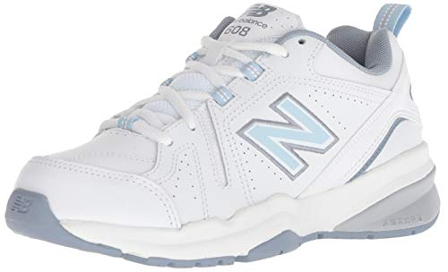 New Balance Women's 608v5 Casual Comfort Cross Trainer, White/Light Blue, 8.5 2A US