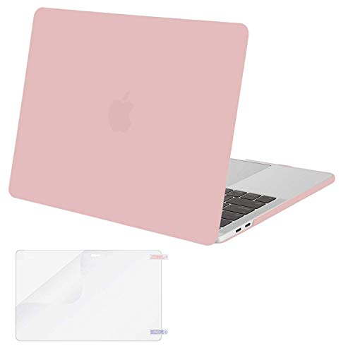 MOSISO MacBook Pro 13 Case 2019 2018 2017 2016 Release A1989 A1706 A1708, Plastic Hard Shell Cover with Screen Protector Compatible Newest MacBook Pro 13 Inch with/Without Touch Bar, Rose Quartz