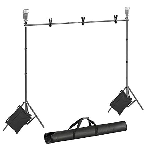 Neewer-Backdrop-Stand-7x10feet-HeightxWidth-Photo-Video-Studio-Muslin-Background-Stand-Backdrop-Support-System-Kit-with-Mini-Ball-Head-Backdrop-Clamp-Sandbag-Carry-Bag-for-Photography-Studio